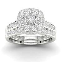 De Couer 14k Gold 1ct TDW Diamond Halo Enagement Ring Set