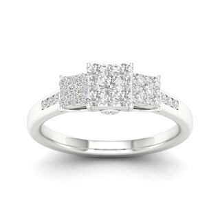 De Couer 10k Gold 1/2ct TDW Diamond Three Stone Cluster Engagement Ring (More options available)