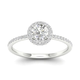De Couer 10k Gold 7/8ct TDW Diamond Halo Engagement Ring (More options available)