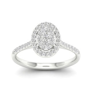 De Couer 10k Gold 1/2ct TDW Diamond Halo Engagement Ring (More options available)