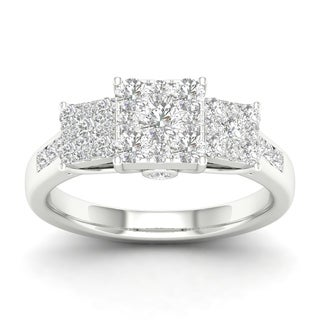 De Couer 10k Gold 1ct TDW Diamond Three Stone Cluster Engagement Ring (More options available)