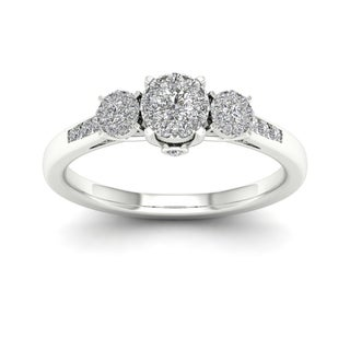 De Couer 10k Gold 1/3ct TDW Diamond Three Stone Engagement Ring (More options available)