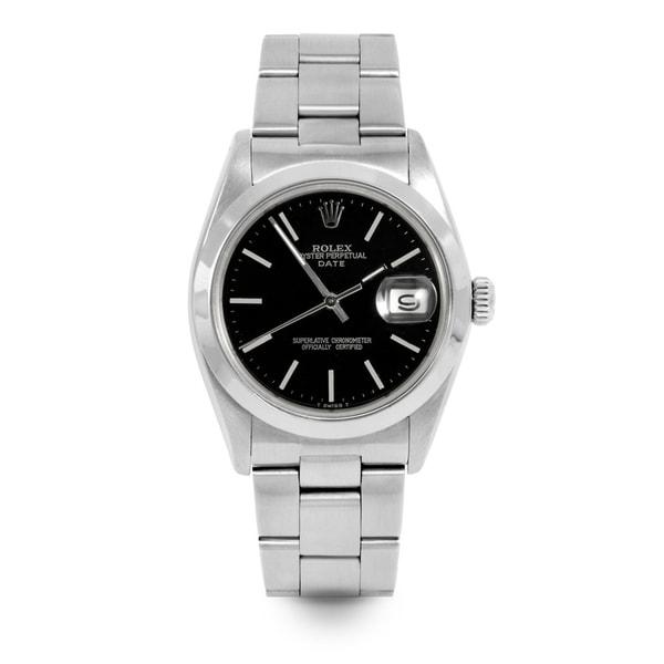 Pre-Owned Rolex Men's / Women's 34mm Date - 1500 Model - Stainless Steel - Black Stick Dial - Oyster Bracelet