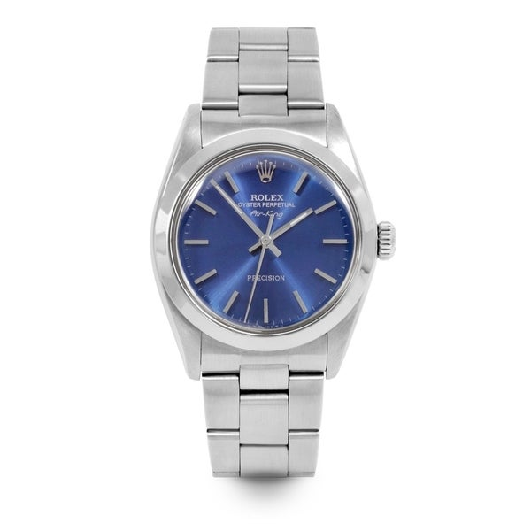 Pre-Owned Rolex Men's / Women's 34mm Airking - 5500 Model - Stainless Steel - Blue Stick Dial - Oyster Bracelet