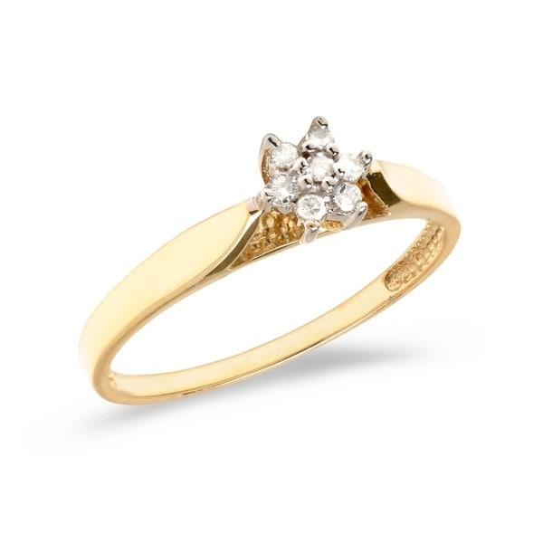 0d51719c827c6 14K Yellow Gold Diamond Cluster Ring Size 7