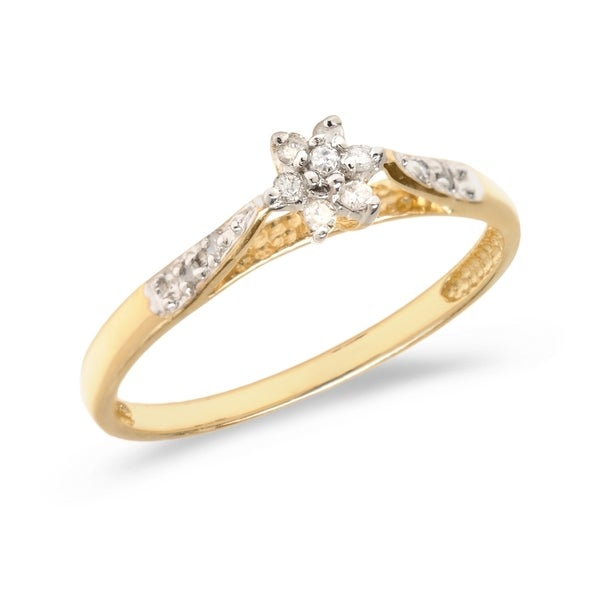d8c4feb473b9c2 Shop 10K Yellow Gold Diamond Cluster Ring Size 7 - Free Shipping Today -  Overstock - 21954163
