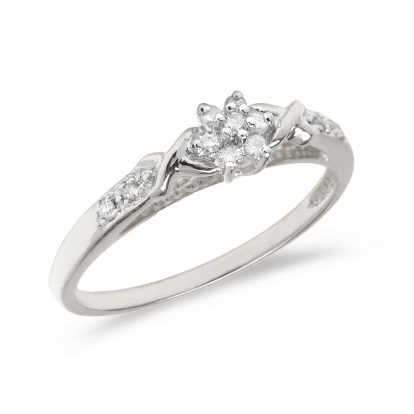 18042a22554dc3 Shop 10K White Gold Diamond Cluster Ring Size 7 - Free Shipping Today -  Overstock - 21954167