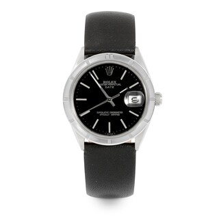 Pre-Owned Rolex Men's / Women's 34mm Date - 1501 Model - Stainless Steel - Black Stick Dial - Generic Black Leather Strap