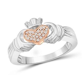 JewelonFire Genuine 1/10 Ctw White Diamonds Claddagh Ring in Two-tone Silver