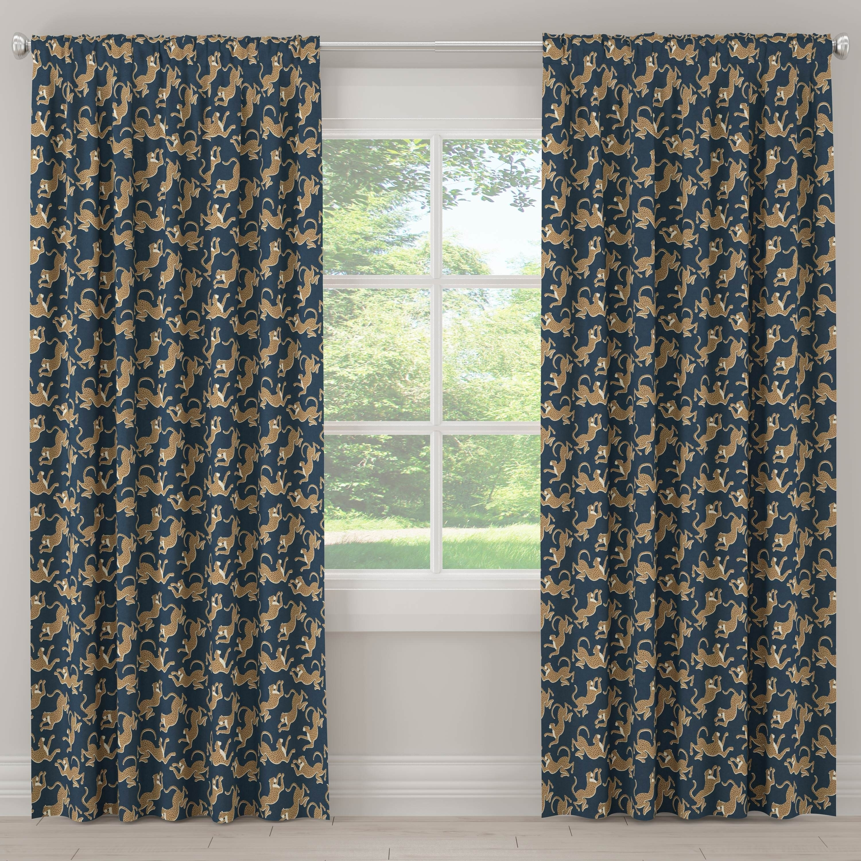 Shop Skyline Furniture Unlined Curtains In Leopard Run Navy