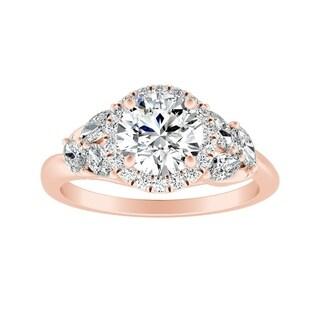 Auriya 14k Gold Vintage Floret 3/8cttw Diamond and 3/4ct Moissanite Engagement Ring