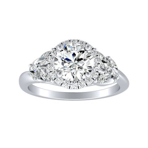 Auriya 14k Gold Floral 1 1/2ct Moissanite Halo Diamond Engagement Ring 3/8ctw