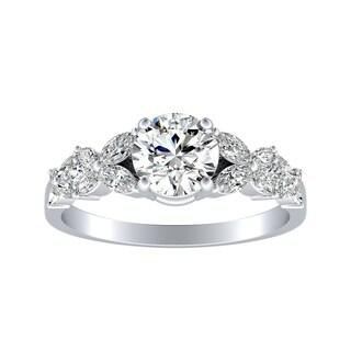 Auriya 14k Gold Floral Vintage 1 1/2ct Moissanite and 1/3ct TDW Diamond Engagement Ring