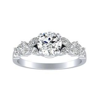 Auriya 14k Gold Floral Vintage 1ct Moissanite and 1/3ct TDW Diamond Engagement Ring