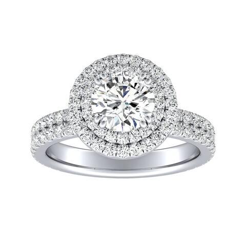 Auriya 14k Gold 1/2ct Moissanite Double Halo Diamond Engagement Ring 9/10ctw