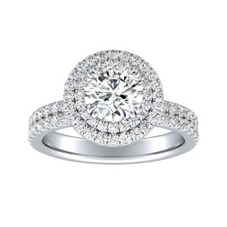 Auriya 14k Gold 9/10cttw Double Halo Diamond and 2ct Moissanite Engagement Ring