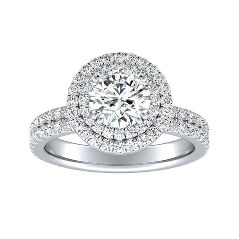 Auriya 14k Gold 1ct Moissanite Double Halo Diamond Engagement Ring 9/10ctw