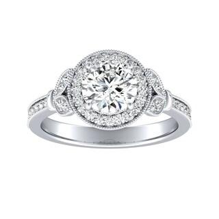 Auriya 14k Gold Vintage Fleur 2ct Moissanite and 1/4ct TDW Halo Diamond Engagement Ring