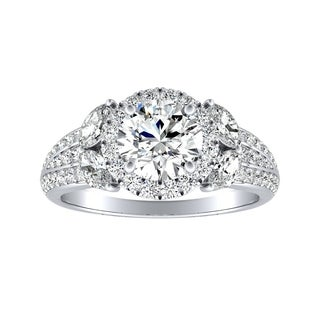 Auriya 14k Gold Vintage Fleur 3/4cttw Halo Diamond and 1/2ct Moissanite Engagement Ring