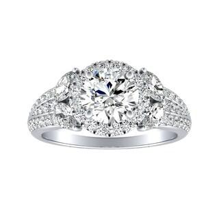 Auriya 14k Gold Vintage Fleur 3/4cttw Halo Diamond and 1 1/2ct Moissanite Engagement Ring