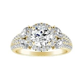 Auriya 14k Gold Vintage Fleur 3/4cttw Halo Diamond and 4ct Moissanite Engagement Ring