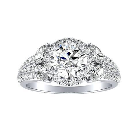 Auriya Round 3/4ct Moissanite and 3/4ctw Halo Diamond Engagement Ring 14K