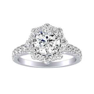 Auriya Round Vintage 1ct Moissanite And 3 4ct TDW Halo Diamond Engagement Ring 14K Gold