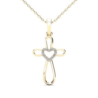 AALILLY 14k Yellow Gold Diamond Accent Heart Cross Pendant Necklace (H-I, I1-I2)