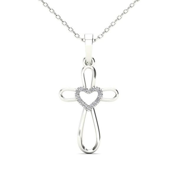 9987bc40cb67bb AALILLY 14k White Gold Diamond Accent Heart Cross Pendant Necklace (H-I,  I1-I2