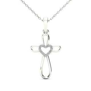 AALILLY 14k White Gold Diamond Accent Heart Cross Pendant Necklace (H-I, I1-I2)