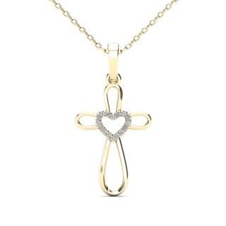 AALILLY 10k Yellow Gold Diamond Accent Heart Cross Pendant Necklace (H-I, I1-I2)