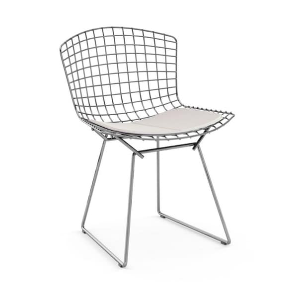 Superbe Mid Century Modern Chromed Steel Wire Frame Side Chairs With Leatherette PU  Pad, White