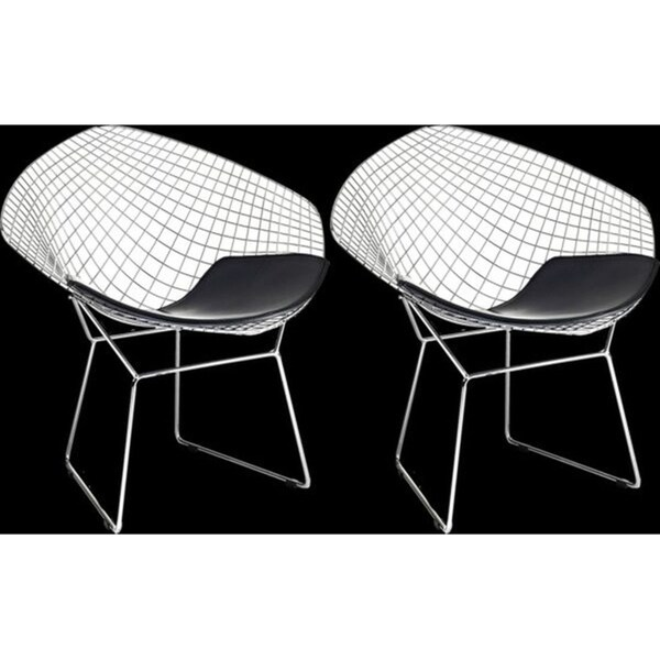 Mid Century Modern Diamond Chromed Steel Wire Frame Side Arm Chairs With  Leatherette PU Black