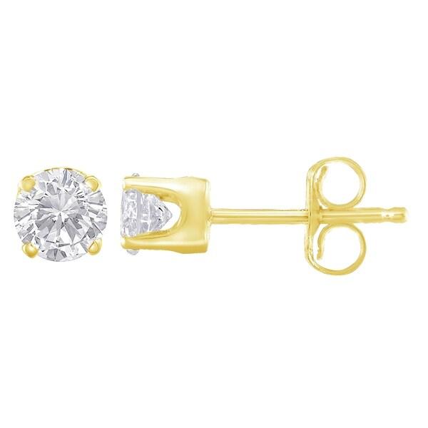 b36d12b21 Shop 14K Yellow Gold 0.25 ct Diamond Solitaire Stud Earrings (I-J ...