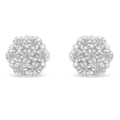 Sterling Silver 0.1ct TDW Rose-Cut Diamond Floral Cluster Stud Earring (I-J, I3-Promo)