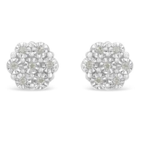 Sterling Silver 0.1ct TDW Rose-Cut Diamond Floral Cluster Stud Earring (I-J, I3-Promo)