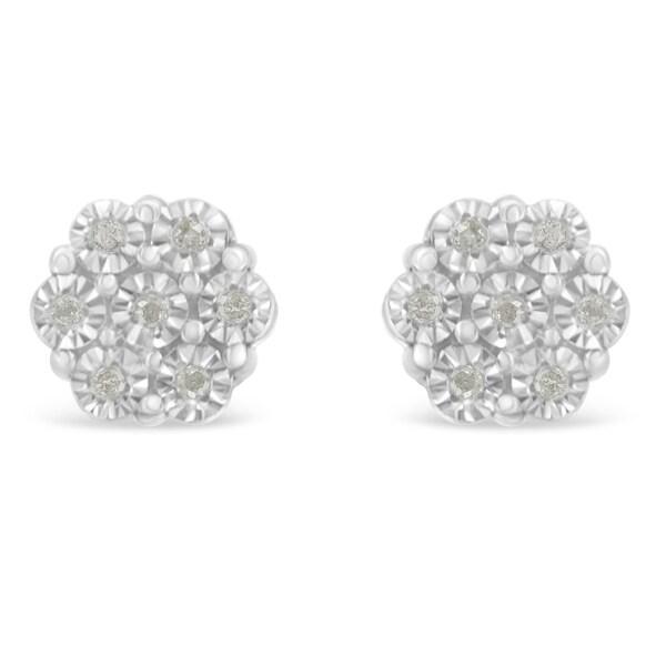 Sterling Silver 0.1ct TDW Rose-Cut Diamond Floral Cluster Stud Earring (I-J, I3-Promo). Opens flyout.