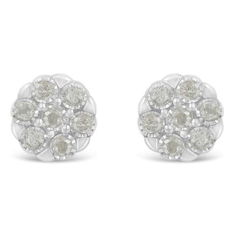 Sterling Silver 0.25ct TDW Rose-Cut Diamond Floral Cluster Stud Earring (I-J, I3-Promo)