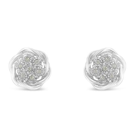 Sterling Silver 0.25ct TDW Diamond Swirl Cluster Stud Earrings (I-J, I2-I3)