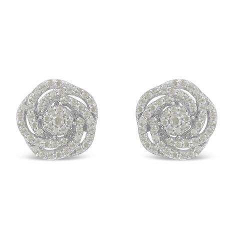 10K White Gold 1ct TDW Rose-Cut Diamond Floral Cluster Earrings (I-J, I2-I3)