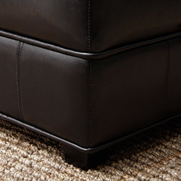 Espresso Brown Bicast Leather Storage Ottoman Free Shipping