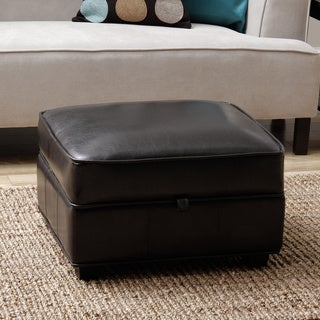 Clay Alder Home Maestri Espresso Brown Bi Cast Leather Storage Ottoman