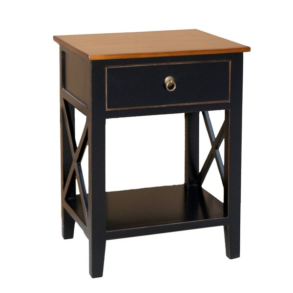 Porthos Home Unique Side Table Cabinet with Drawer,Shelf for Bedroom