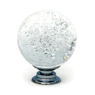 Clear Bubble Round Crystal Glass Knobs, 1.5 inch - Set of 6