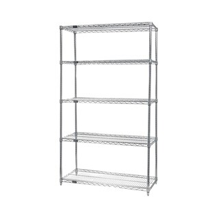 "Quantum Storage Systems Stainless Steel Wire Shelving 5 Shelf Starter Unit 18"" x 30"" x 74"""