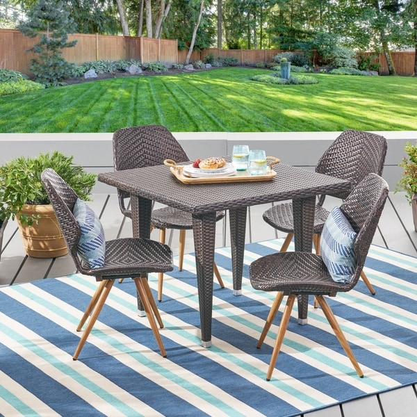 Cadlao Outdoor 5 Piece Wicker Dining Set by Chirstopher Knight Home