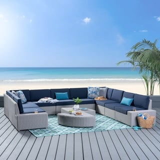 Santa Cruz Outdoor 10 Seater Wicker Sofa Set, Chalk Wicker with Cushion by Chirstopher Knight Home