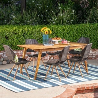 Dalupiri Outdoor 7 Piece Acacia Wood and Wicker Dining Set by Chirstopher Knight Home