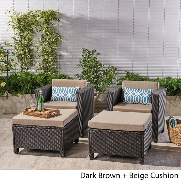 Puerta Outdoor 4 Piece Wicker Club Chair and Ottoman Set by Chirstopher Knight Home. Opens flyout.