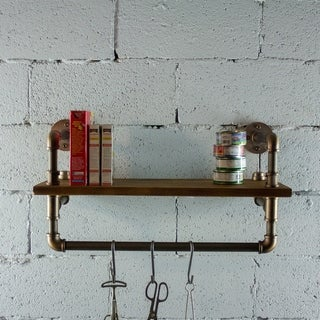 OS Home and Office Model P27-RB 27 inch Decorate Pipe Shelf and Clothes Rack with Reclaimed-Aged Wood Finish.